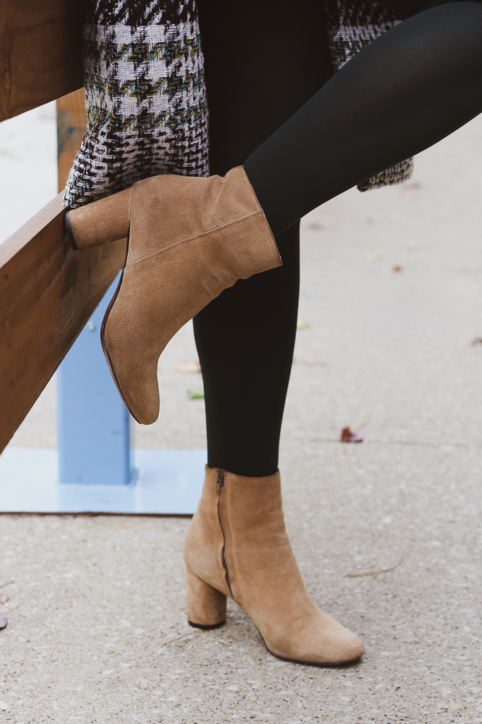 olive tights and camel booties