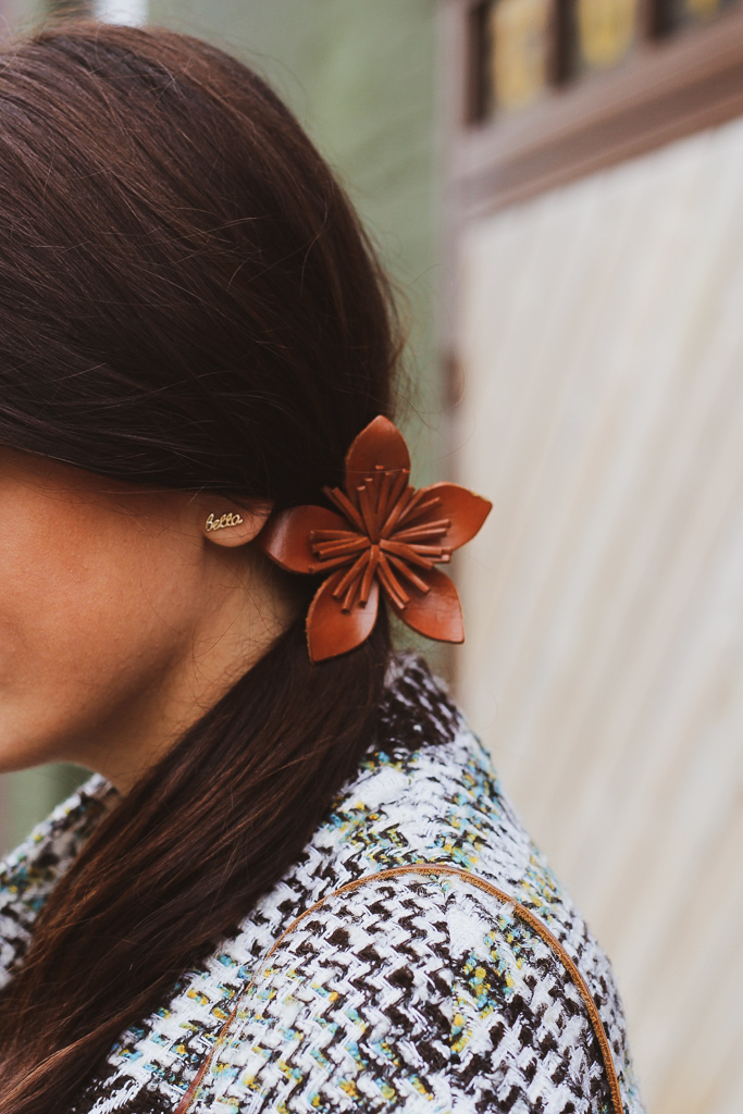 bella earring and leather flower ponytail holder