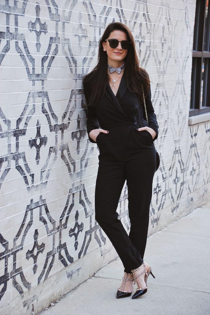 feminine black tuxedo jumpsuit