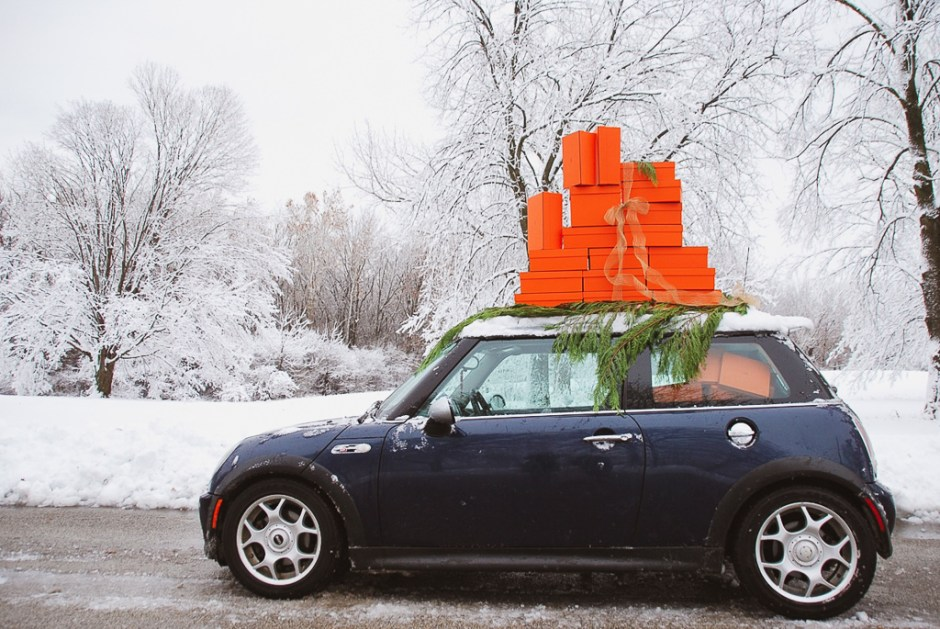 Mini Cooper With Hermes Gift Boxes On Roof