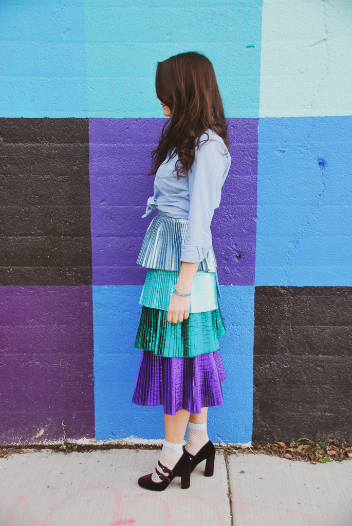 delfi tiered metallic skirt