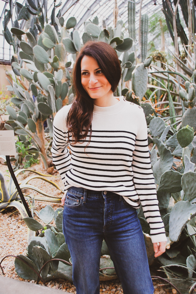 black and cream stripe sweater