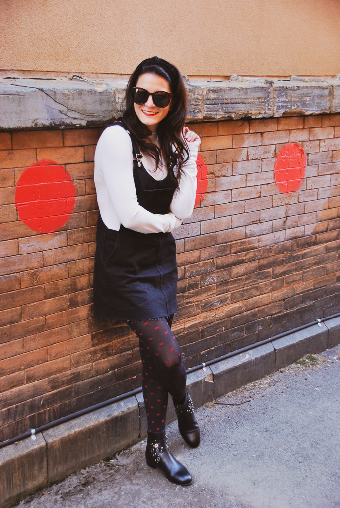 black and cream with red polka dots