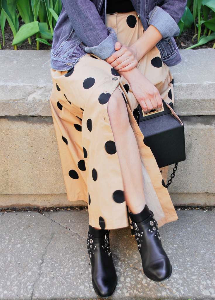 polka dot skirt and black booties