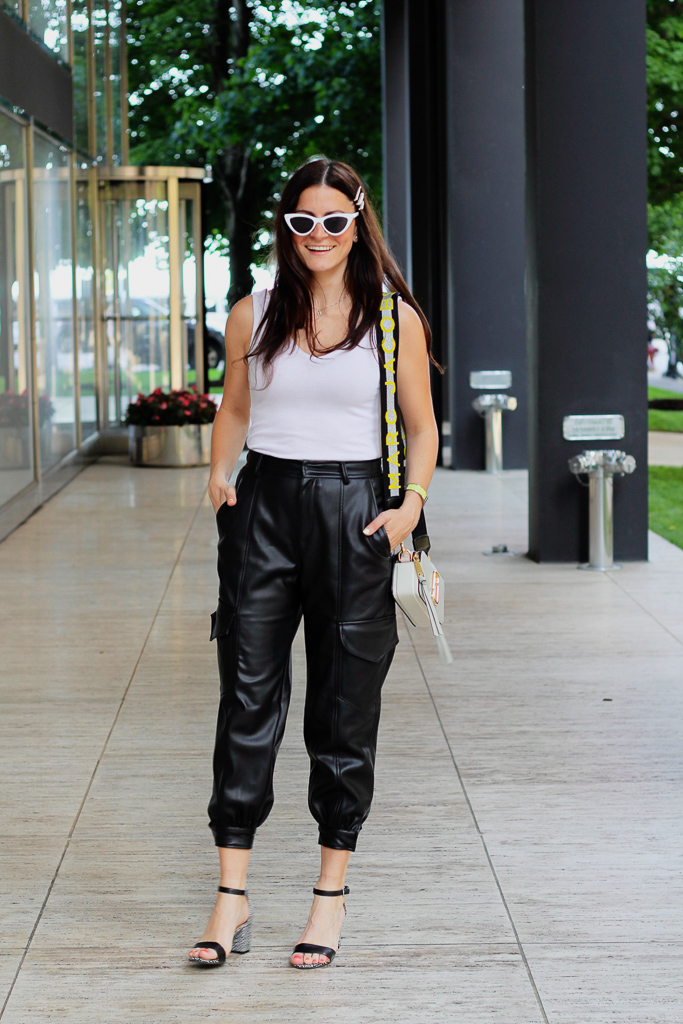 black pleather cropped cargo pants