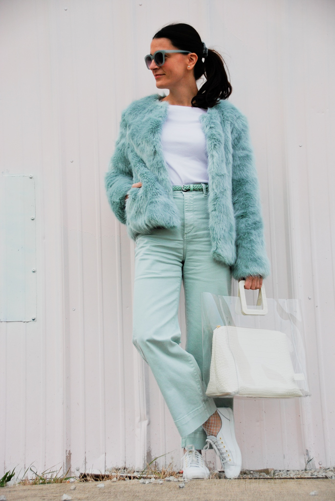 mint and green outfit