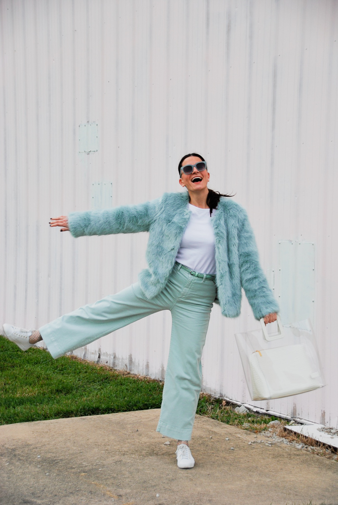 mint faux fur bershka coat and mint gap pants