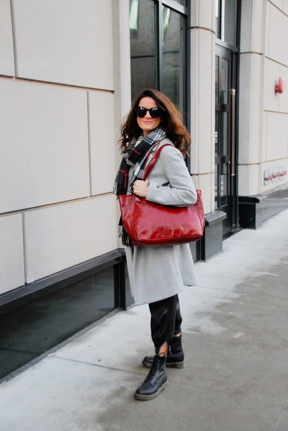 Gray coat and red tote