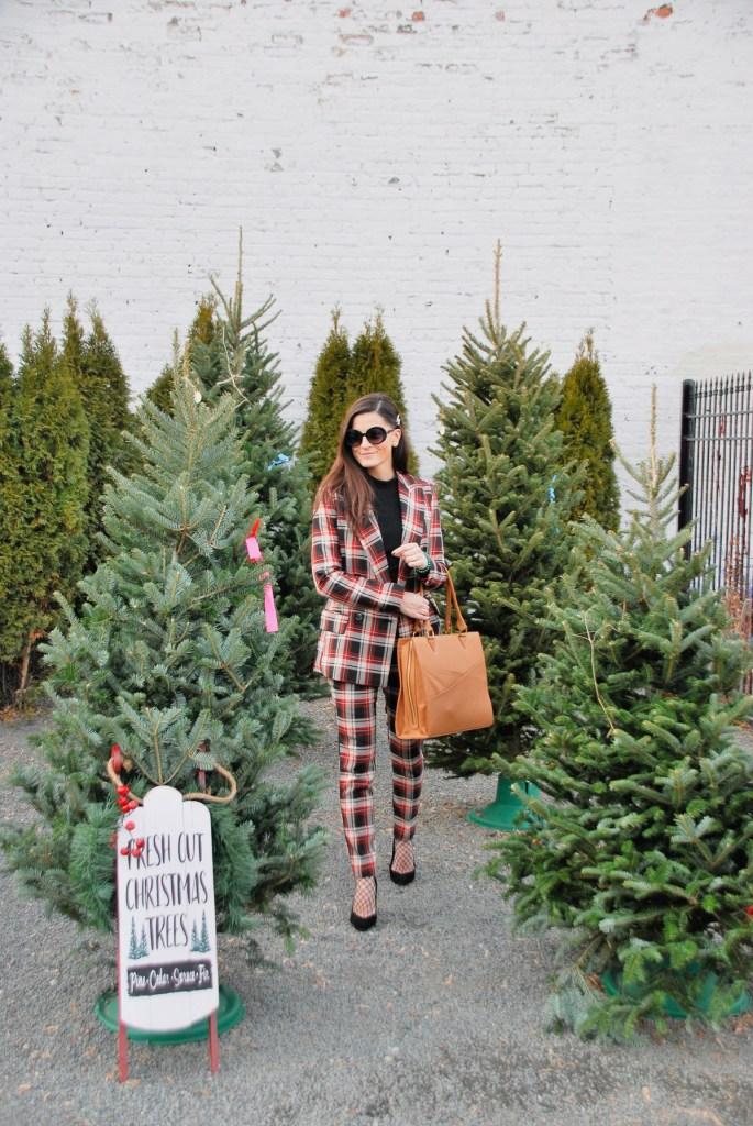 plaid and christmas trees