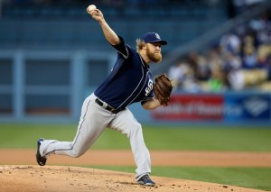 Andrew Cashner throws a pitch during a game against the Los Angeles Dodgers at Dodger Stadium on May 22, 2015 (Stephen Dunn/Getty Images)