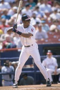 ANAHEIM, CA - APRIL 11:  Eduardo Perez of the California Angels fields during the game against the Cleveland Indians at Anaheim Stadium on April 11, 1994 in Anaheim, California.  (Photo by Stephen Dunn/Getty Images)