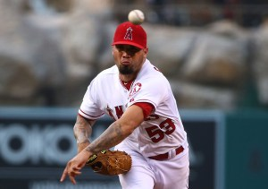 Hector Santiago delivers a pitch during the first inning of a game against the Detroit Tigers at Angel Stadium on May 29, 2015 (Victor Decolongon/Getty Images)