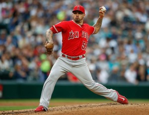 Hector Santiago delivers a pitch during the second inning of a game against the Seattle Mariners at Safeco Field on July 10, 2015 (Otto Gruele, Jr./Getty Images)