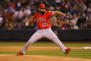 Matt Shoemaker delivers a pitch during the first inning of a game against the Colorado Rockies at Coors Field on July 8, 2015 (Justin Edmonds/Getty Images)