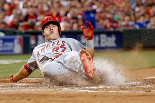 Mike Trout slides home to score on Prince Fielder's RBI single during the fifth inning of the 86th MLB All-Star Game at Great American Ball Park in Cincinnati, OH on July 14, 2015 (Rob Carr/Getty Images)