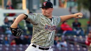 Sean Newcomb delivers a pitch during the first inning of a game against the Rancho Cucamonga Quakes at San Manuel Stadium on May 21, 2015 (Fernando Gutierrez/MiLB.com)