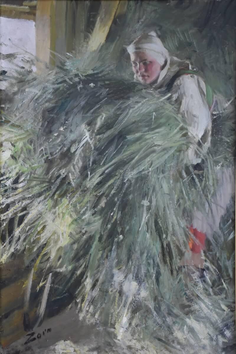 Oljemålning föreställande kvinna på höloft, målad av Anders Zorn.