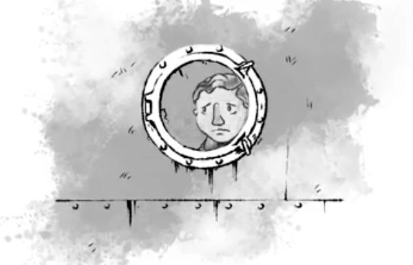 """En stillbild från filmen """"Båtflykting"""" föreställande en ledsen pojke som ser ut genom ett båtfönster."""