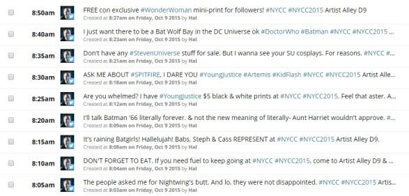 Screen capture showing scheduled tweets in HootSuite