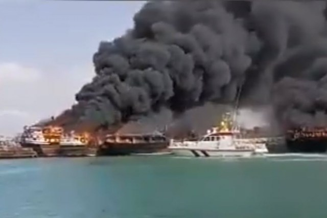 Four Ships Ablaze in Iran Persian Gulf Port