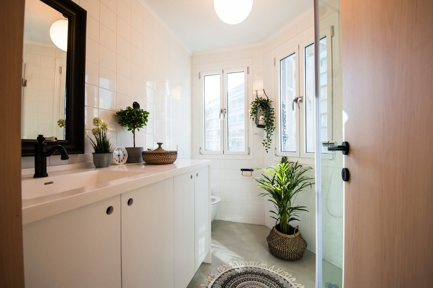 Spacious Bathroom with shower and organic toiletries
