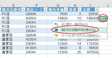 [オートコレクトのオプション]で[集計列の自動作成を停止]を選択
