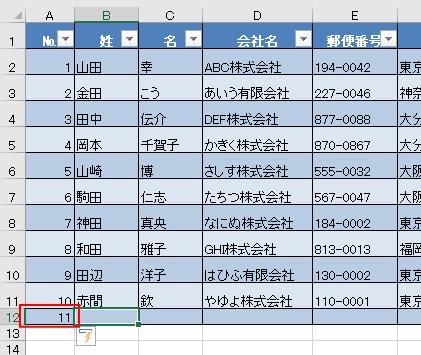 テーブルの最後のセルの下にデータを追加