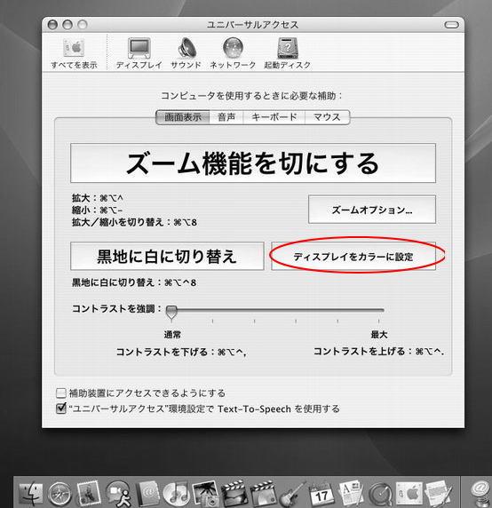 ユニバーサルアクセスの画面表示-グレーススケール