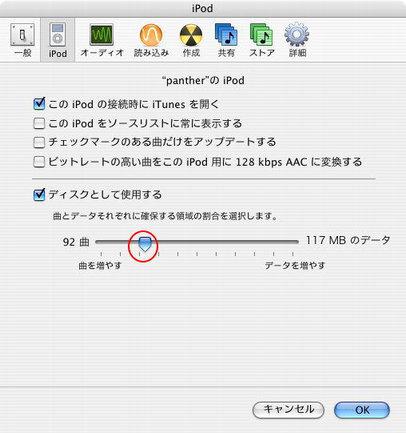 iPod設定画面