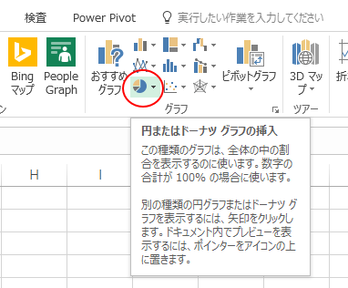 [円またはドーナツグラフの挿入]ボタン