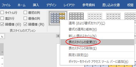 表のスタイルの変更