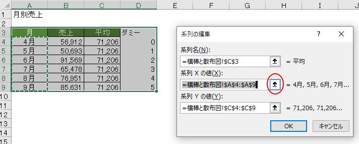 [系列Xの値]のダイアログボックス拡大/縮小ボタンをクリック