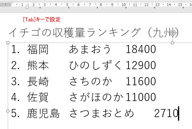 Tabキーで設定した文字列