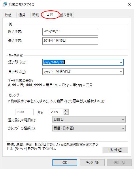 [形式のカスタマイズ]ダイアログボックス