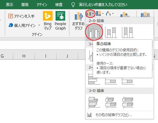 [2D縦棒]から[集合縦棒]を選択