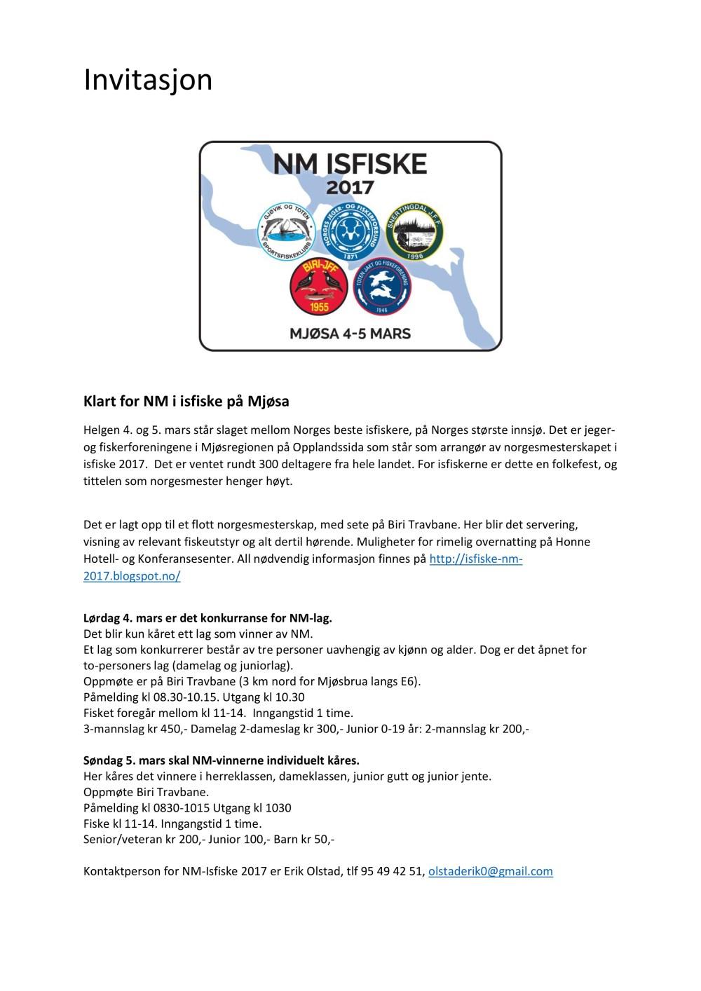 Invitasjon NM Isfiske 2017