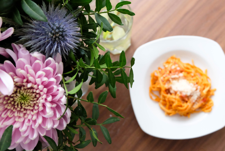 one pot pasta w/ flower