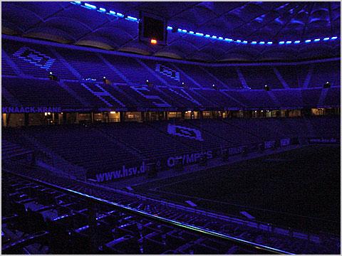 hsv stadion in der nacht und am tag