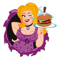 Hamburger Mary holding a burger, small burst Image