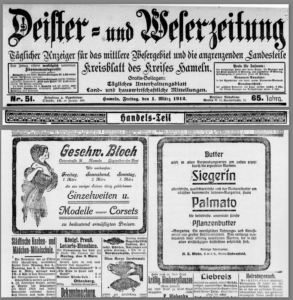 Geschw. Bloch – eine DEWEZET-Anzeige vom 01. März 1912 und was folgte…