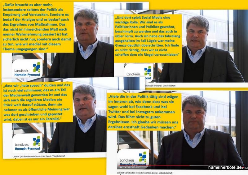 Die Rückzugsrede von Tjark Bartels, erkrankter Landrat des Landkreises Hameln-Pyrmont (Auszug Medien)