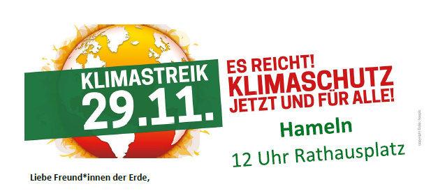 Aufruf zur Klimaschutzdemo in Hameln – Freitag, 29.11.2019