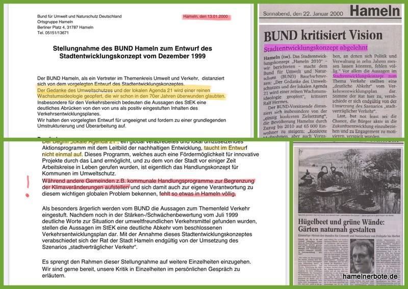 Ein Rückblick: Klimaschutz und Stadtentwicklung in Hameln im Jahr 1999/2000