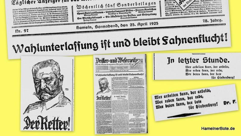 """""""Wählt Hindenburg!"""" DEWEZT im Jahre 1925 zur Reichspräsidentenwahl."""