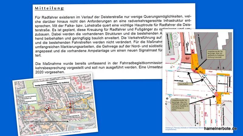 Fahrradführung Deisterstraße. Verbesserungen für die Querung Lohstraße/Falkestraße geplant.