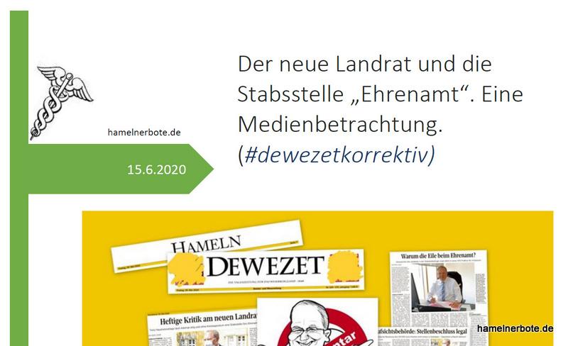 """Der neue Landrat und die Stabsstelle """"Ehrenamt"""". Eine Medienbetrachtung. (#dewezetkorrektiv)"""