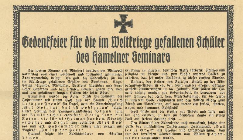 Gedenkblatt für die im Weltkriege gefallenen Schüler des Hamelner Seminars