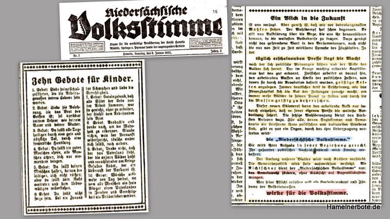 Niedersächsische Volksstimme vom 09.01.1921