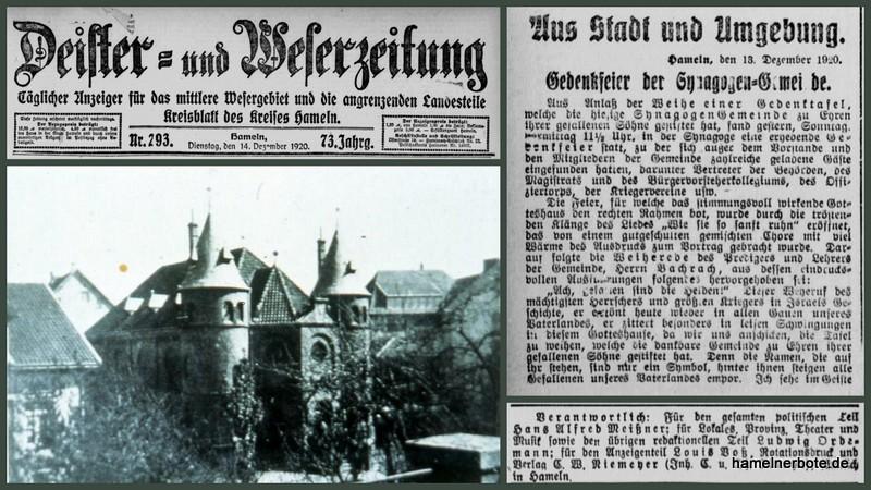 12.12.1920 – Einweihung einer Gedenktafel für im Weltkrieg gefallene jüdische Soldaten aus Hameln.