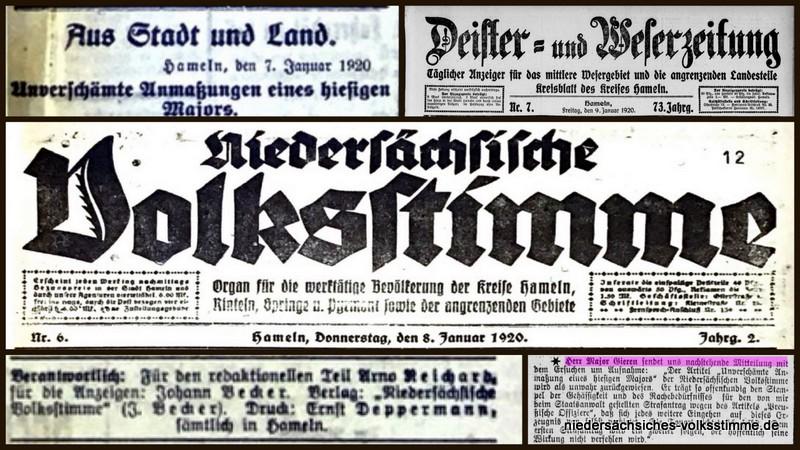 Januar 1920: Major Gieren – Bericht Nds. Volksstimme und Protest in der DEWEZET
